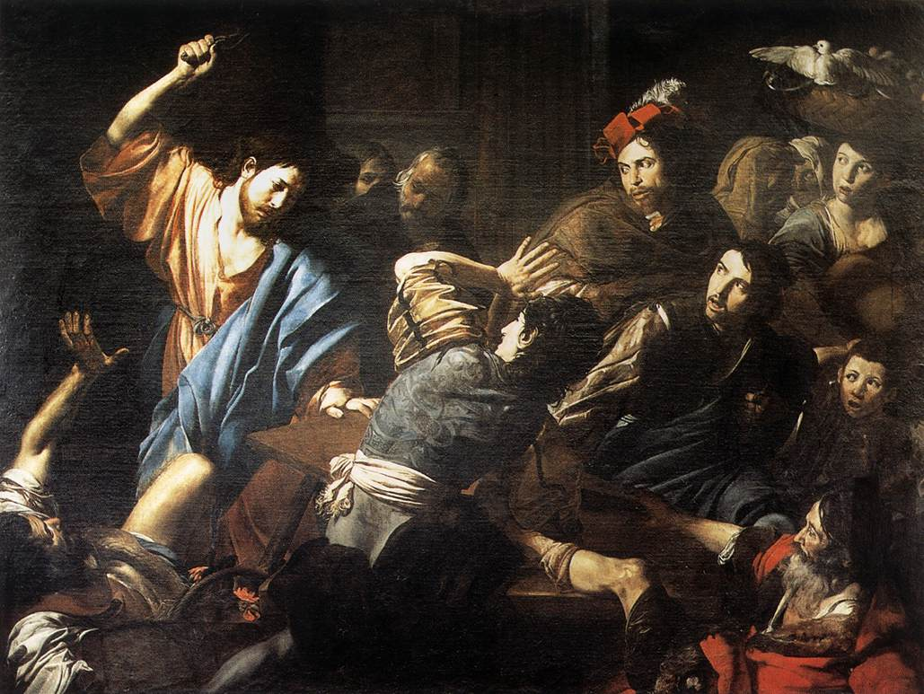 Valentin de Boulogne, Christ Driving the Merchants from the Temple, ca. 1618-22.
