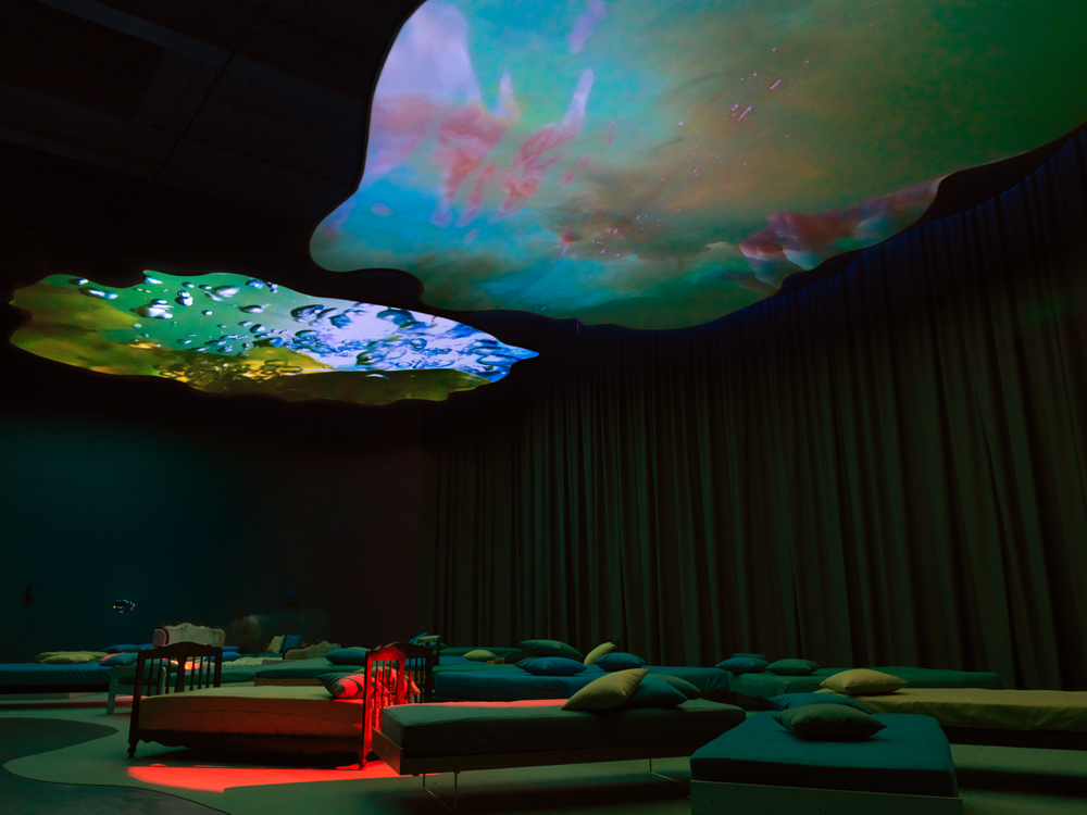 Installation view of Pipilotti Rist, Mercy Garden, 2014, at New Museum, New York.