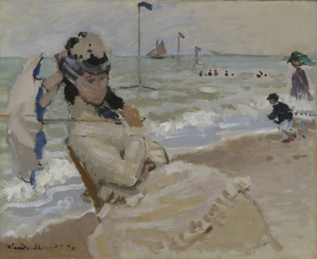 Claude Monet, Camille on the Beach at Trouville, 1870.