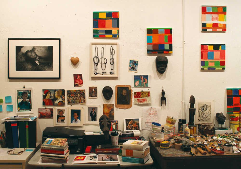 Stanley Whitney's studio circa 2013.