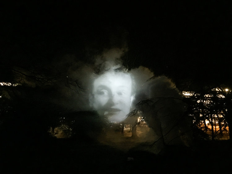Tony Oursler, The Influence Machine, as installed in Edinburgh, 2016.