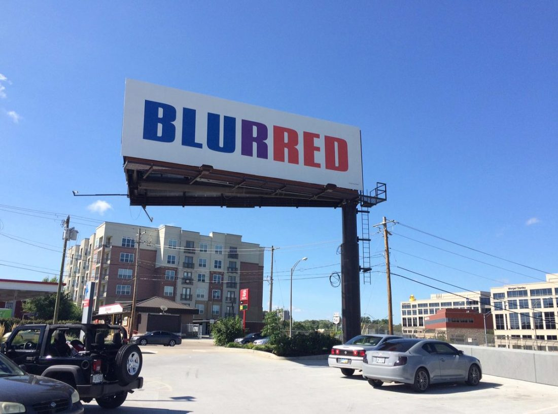 Kay Rosen, Blurred (billboard version), 2004/15.